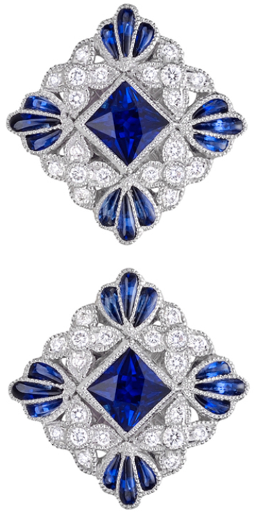 lucie campbell squareshaped sapphire amp diamond stud