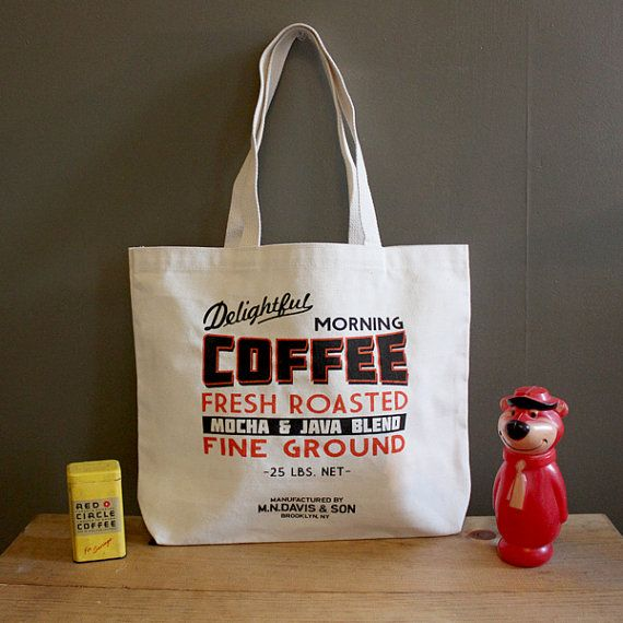 Screen printed canvas tote bag - Coffee sack - Made in Brooklyn, NY www.mndavisandson...