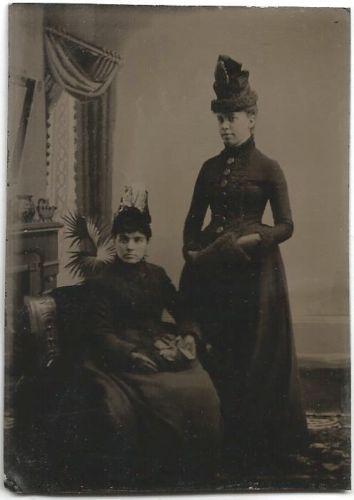 2 Women in Fine Tall Hats Dresses Muff Tintype | eBay