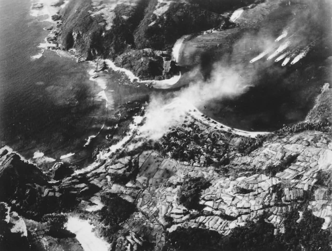 Visión aérea de la invasión a Kerama en Okinawa 1945