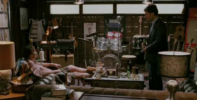 Jason Segel + Paul Rudd in I LOVE YOU, MAN. Great classic garage man cave. Note the see-through drum set.