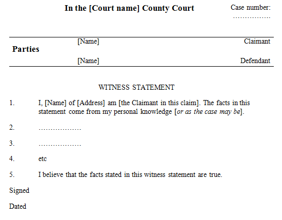 Witness Statement Template  We The People Who Are Not Bar Members