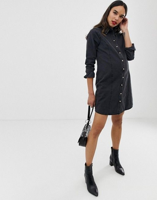 de4562e84dc DESIGN Maternity denim fitted western shirt dress in washed black in ...