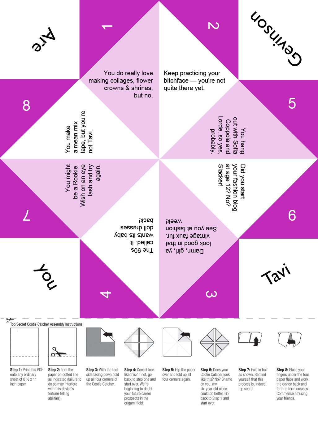 are you tavi gevinson free printable cootie catcher for tween and teen girls and you know. Black Bedroom Furniture Sets. Home Design Ideas