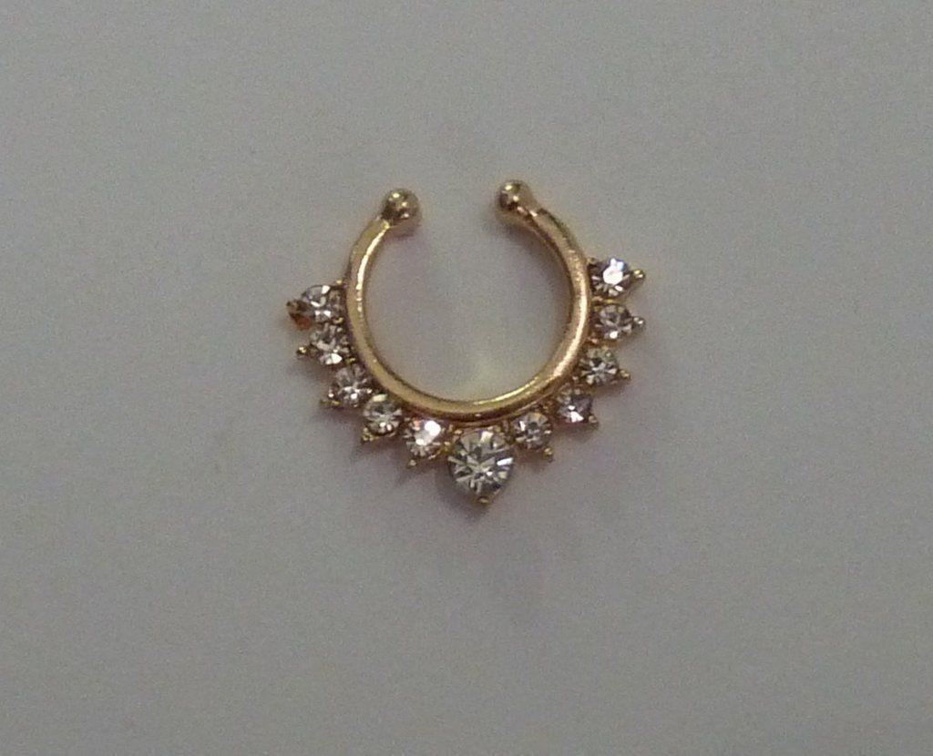 Fake belly piercing  Gold Fake septum ring gold crystal fake septum ring gold fake nose