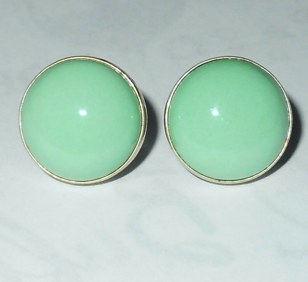 Sterling Silver Earrings Pale Green Turquoise Gemstones