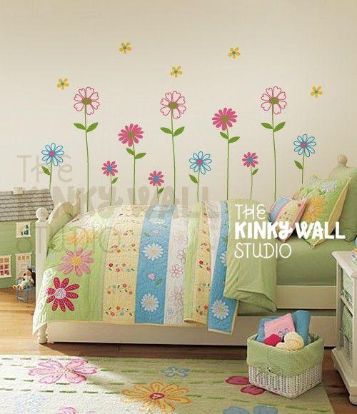 Daisy Garden Flowers Wall Decal, Pottery Barn , Nursery, Bedroom, Baby,  Girl Wall Decals Wall Sticker   KK101S