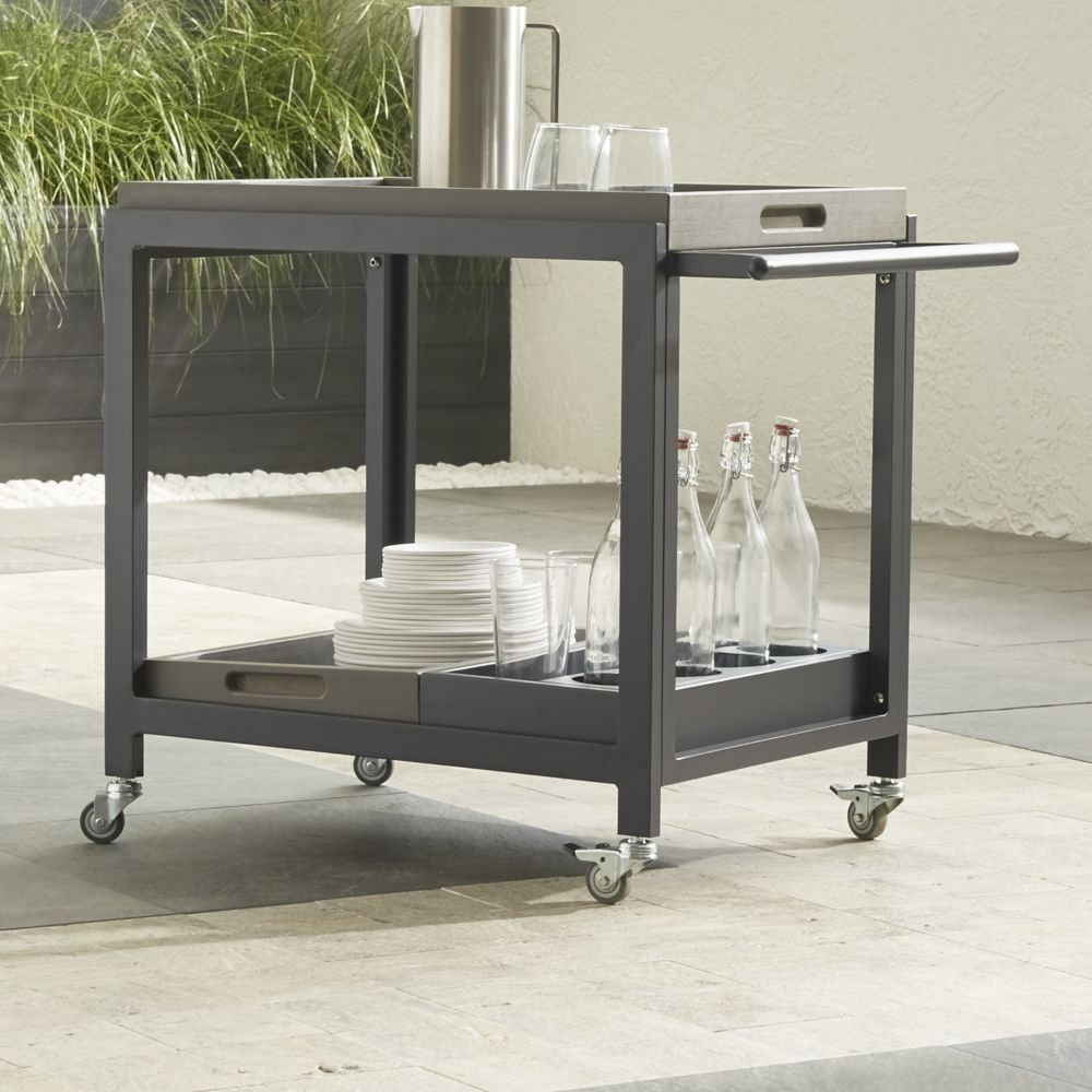 Alfresco grey bar cart with casters crate and barrel