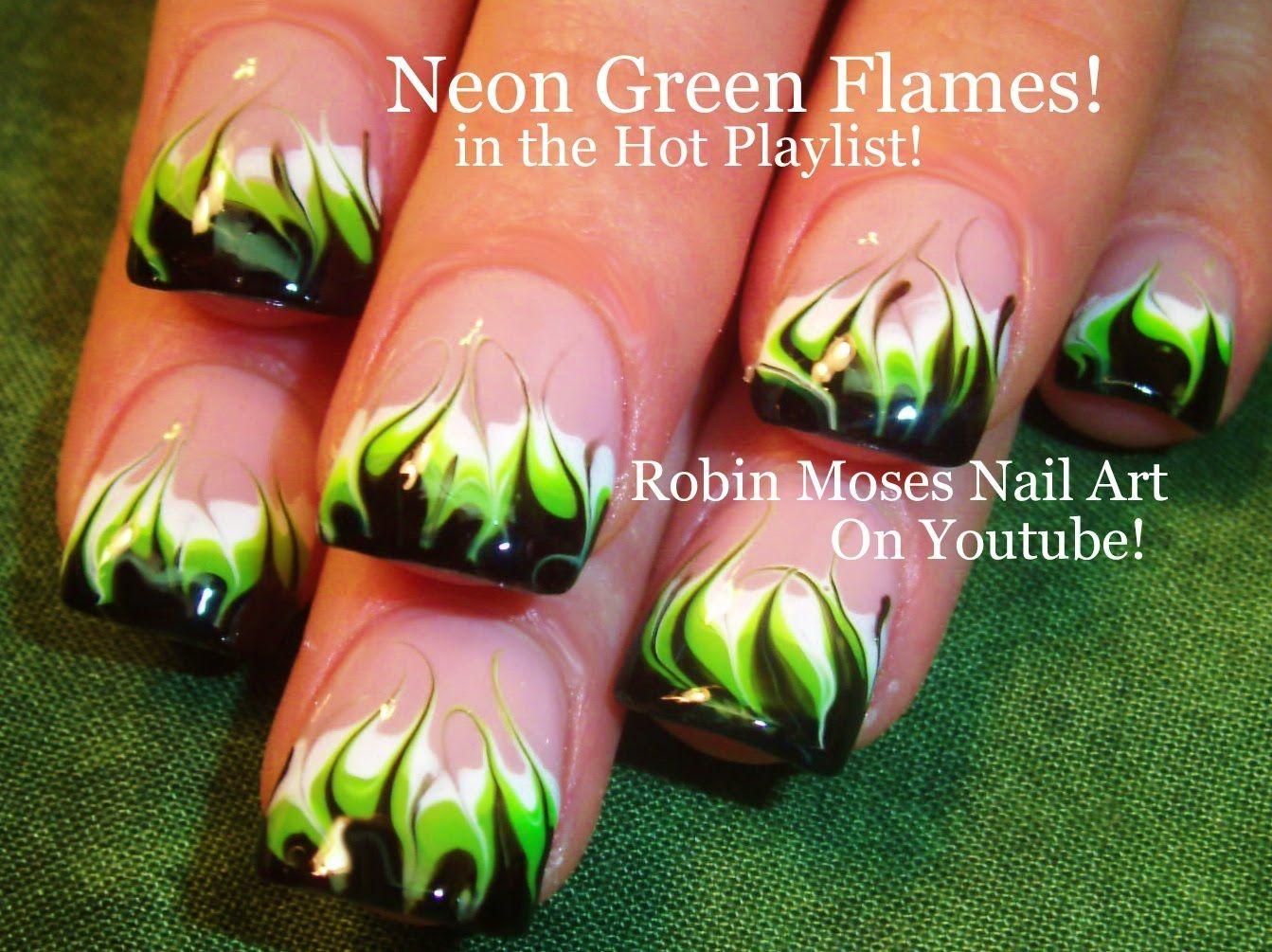 No Water Needed - DIY Neon Marble Flames nail art Tutorial | Nail ...