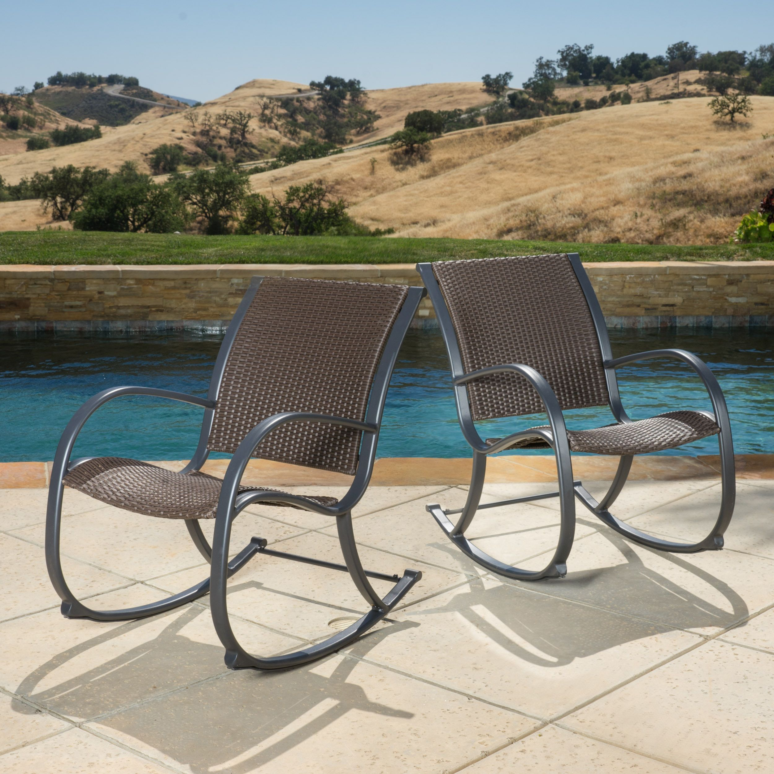 Gracie s Outdoor Wicker Rocking Chair Set of 2 by Christopher