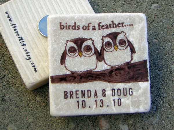 Save the Date Magnets that are Handmade from Tiles