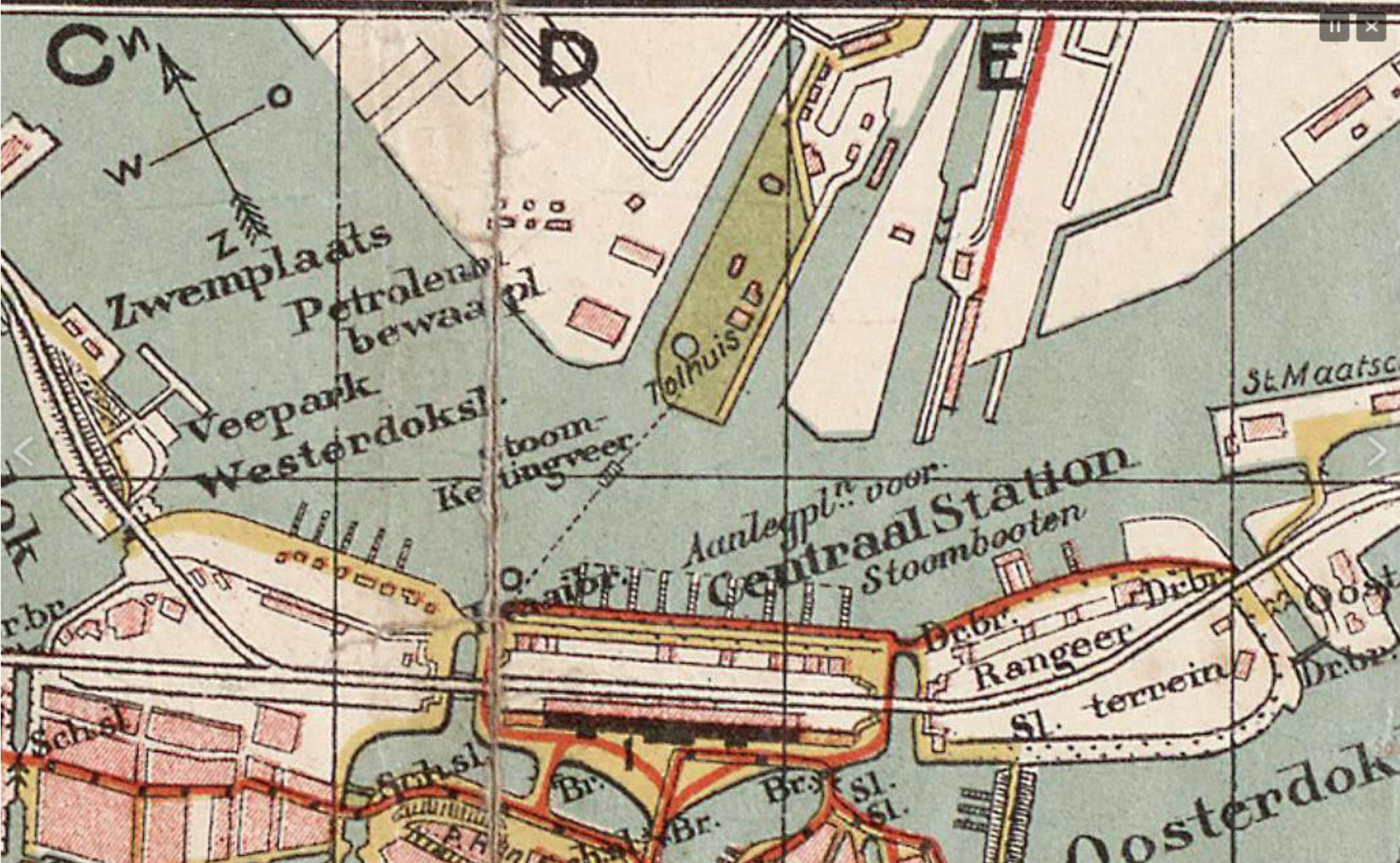 Detail uit kaart uit 1904 van Het IJ en de omgeving van het Centraal Station.