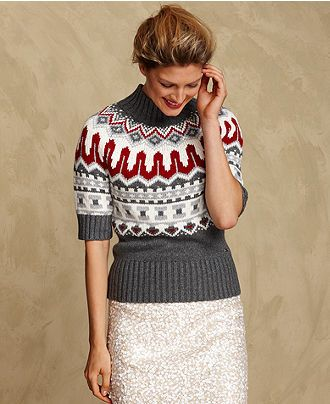 Tommy Hilfiger Sweater, Short-Sleeve Turtleneck Fair Isle - Womens ...