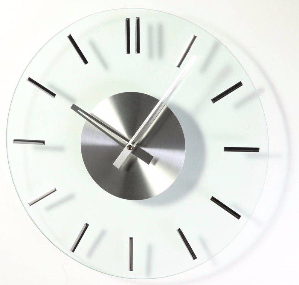 Modern Stainless Steel Mid Century Glass Silver Metal Wall Clock Home Decor Wallclock Mirror Wall Clock Wall Clock Mid Century Glass
