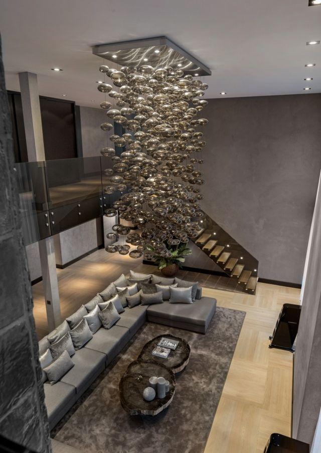 Luxus-Residenz Innenarchitektur Pendelleuchten Sofa-set Effekt - luxus wohnzimmer einrichtung modern