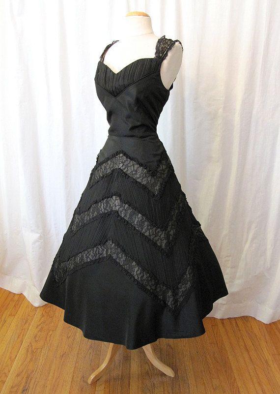 d2263c9fc67 Stunning 1950 s Designer Black Satin New Look Dress Dior-esque by ...