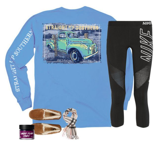 """just sing it.✅"" by southernmermaid ❤ liked on Polyvore featuring NIKE, UGG and Burberry"