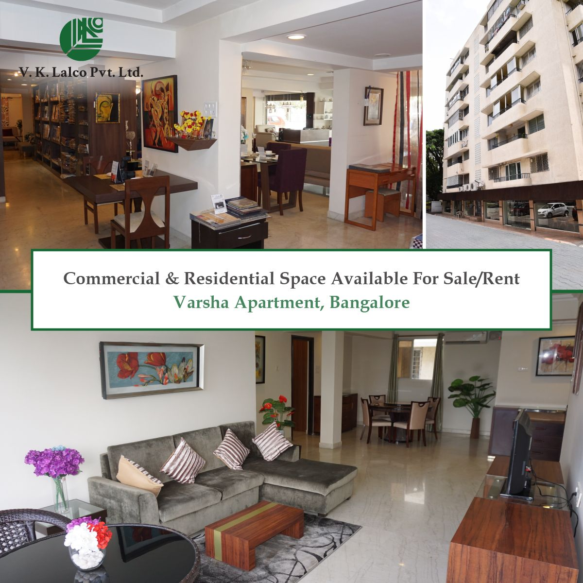 Commercial  Residential Space Available For SaleRent at Varsha Apartment Bangalore