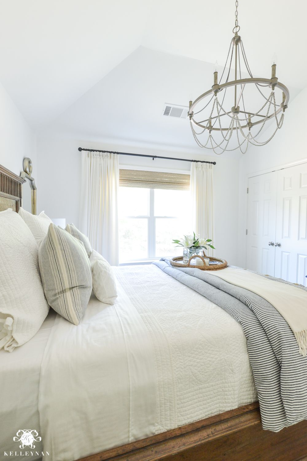 one room challenge blue and white guest bedroom reveal before and