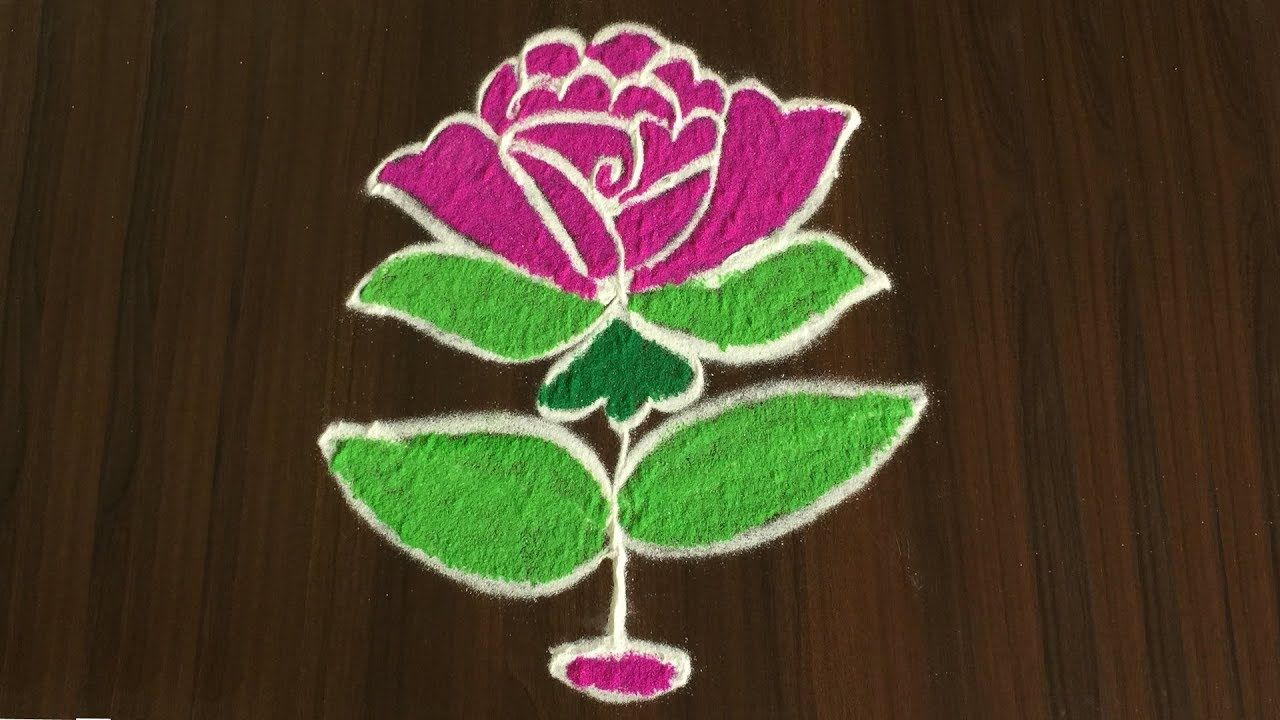 Beautiful Rose Rangoli Designs With 5 To 3 Easy Colours Flower Kolam Rangoli Designs Rangoli Designs With Dots Rangoli Patterns