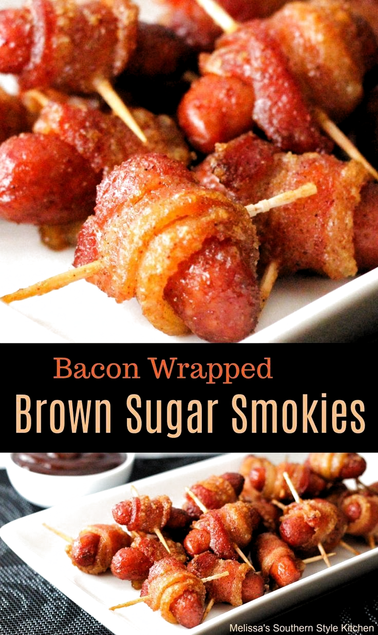 Bacon Wrapped Brown Sugar Smokies #appetizers #party #partyfood #smokies #bacon #snacks #football #recipes #food #newyearseve #superbowl #superbowlparty #christmas #munchies