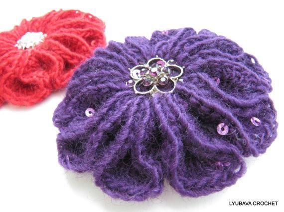 Crochet Brooch Scarlet Flower