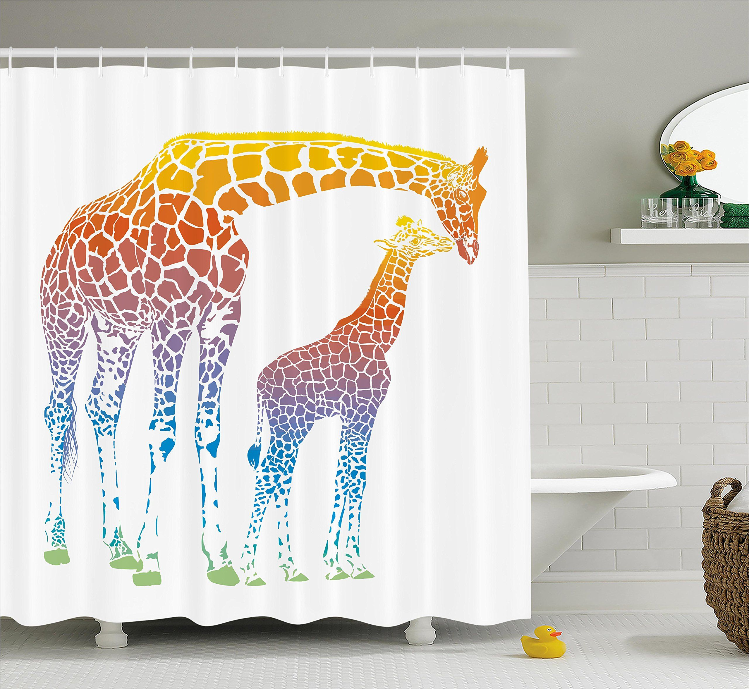 Giraffe Shower Curtain Set By Ambesonne Mom And Kid Giraffe In