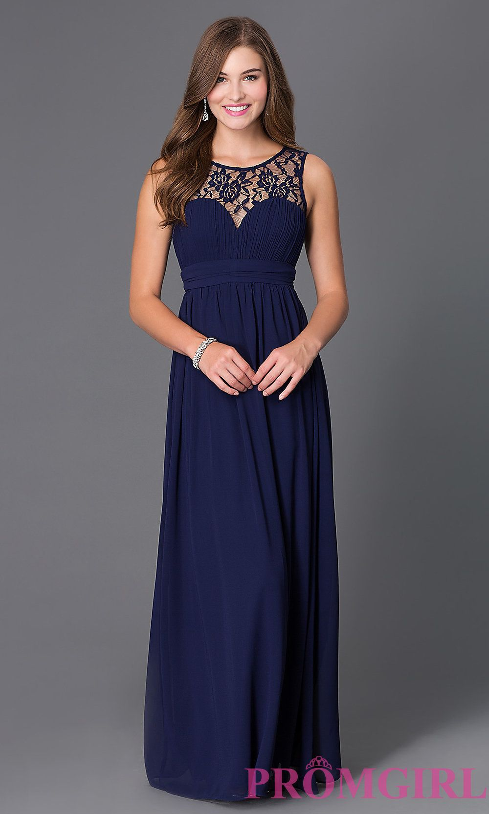 Sleeveless floor length dress with lace embellished neckline