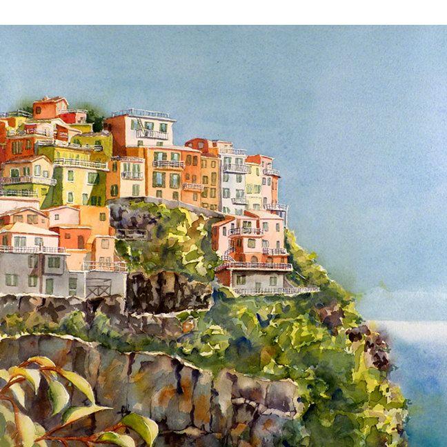 Landscape Cinque Terre Landscape Painting Fine Art Prints Etsy Romantic Paintings Italian Landscape Travel Art Print