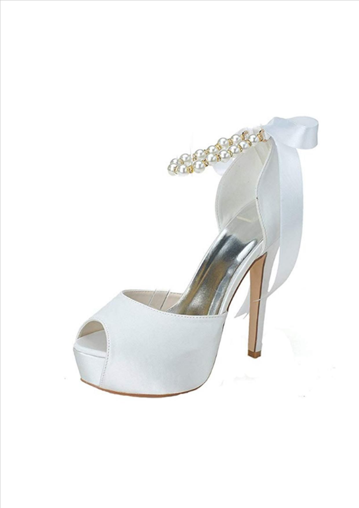 1aa6a201f8bd Clearbridal Women s Satin Wedding Bridal Shoes Open Peep Toe High Heels for  Evening Prom Party with