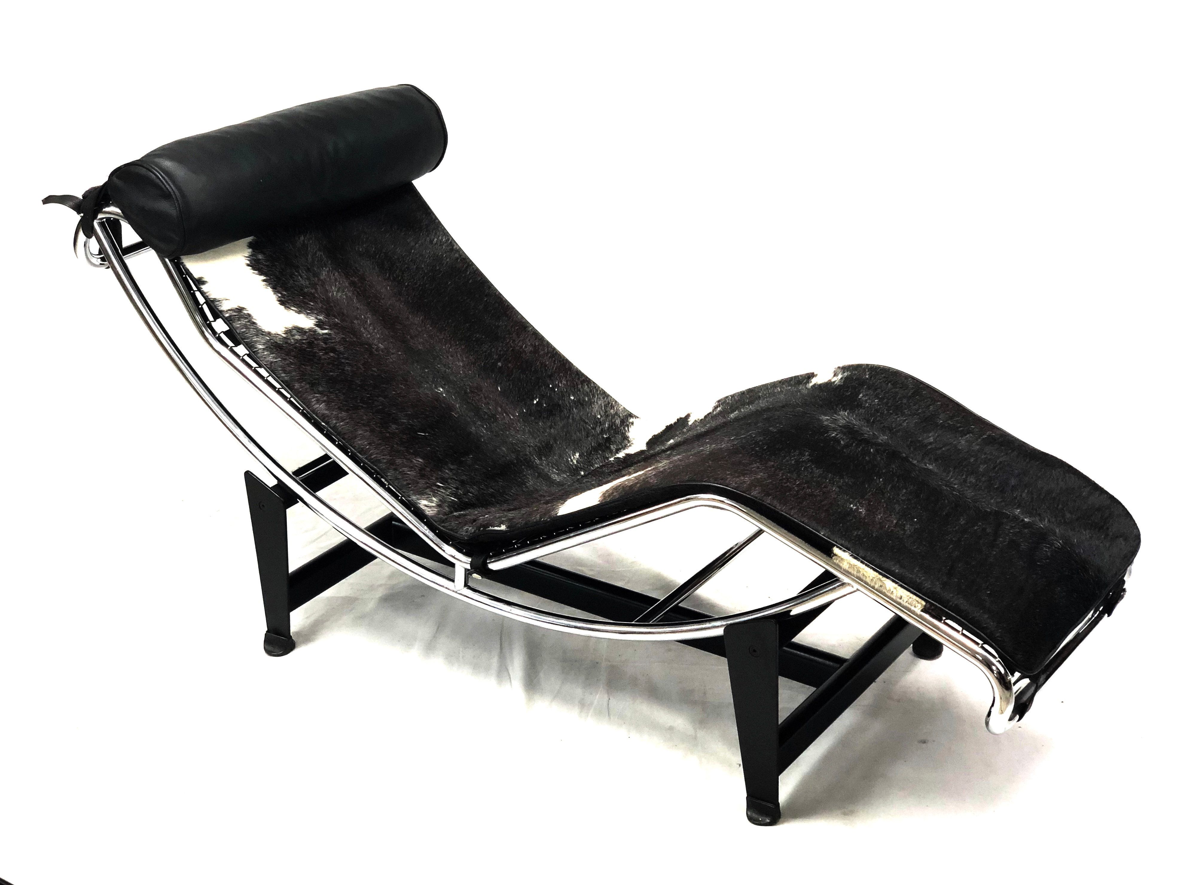 Mid Century Modern Le Corbusier Black Leather Pony Hide Chaise