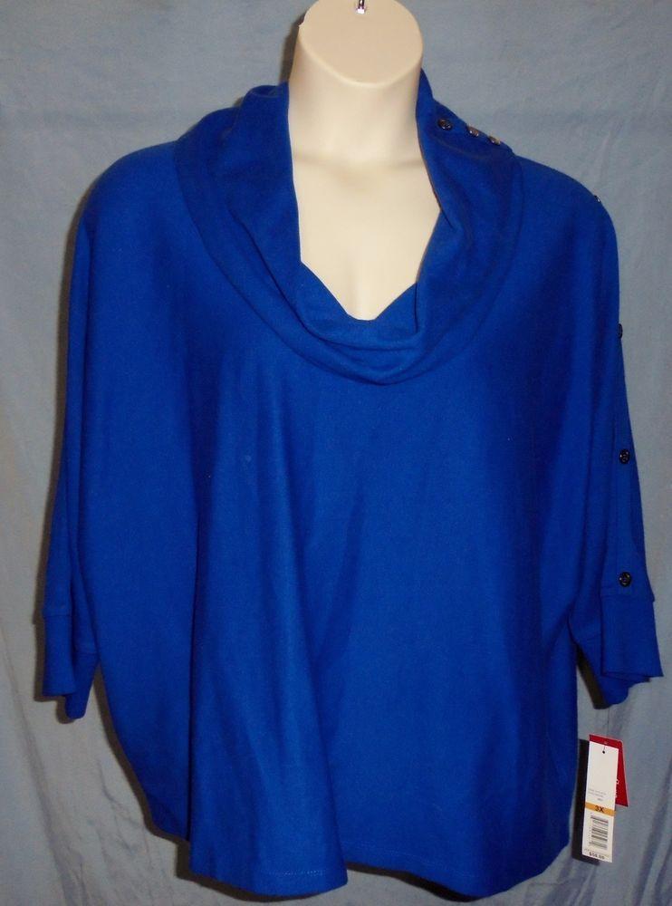 Womens Rafaella Peacock Blue 3X Cowl Neck Pullover Sweater Shirt New $58 Retail #Rafaella #KnitTop #CareerCasual