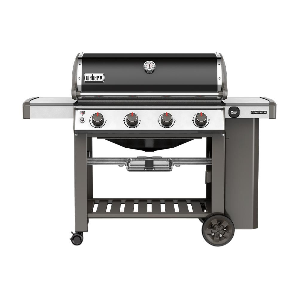 Weber Genesis Ii E 410 4 Burner Propane Gas Grill In Black 62010001 The Home Depot Propane Gas Grill Natural Gas Grill Best Gas Grills