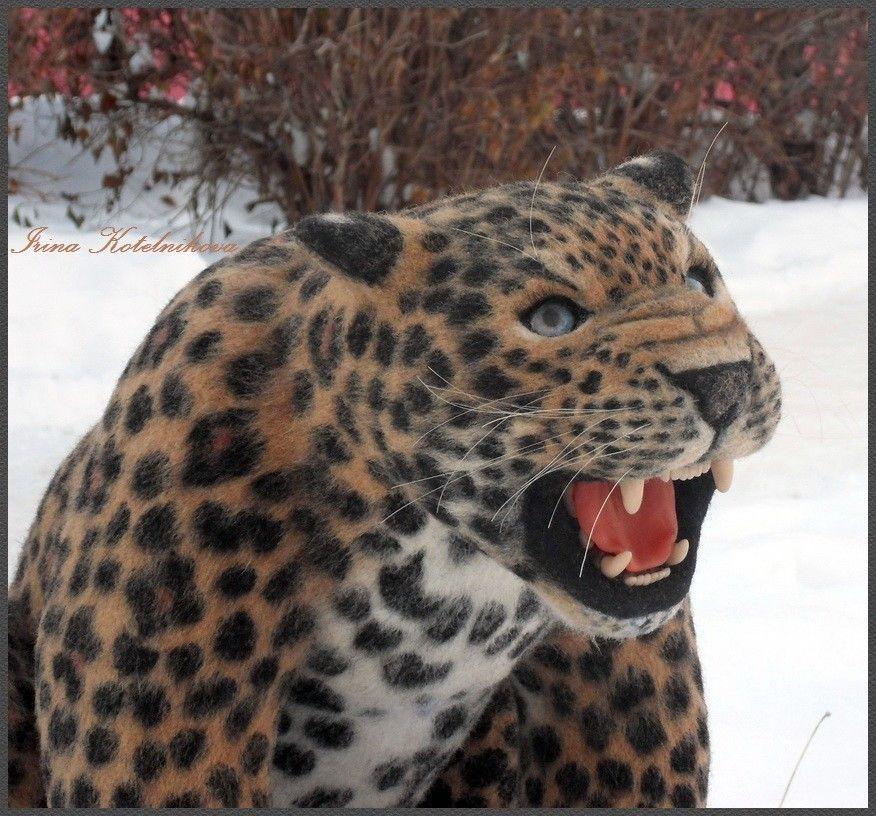 Leopard Growl: Leopard, Predator, Leopard Growl, Felt Sculpture, Felted