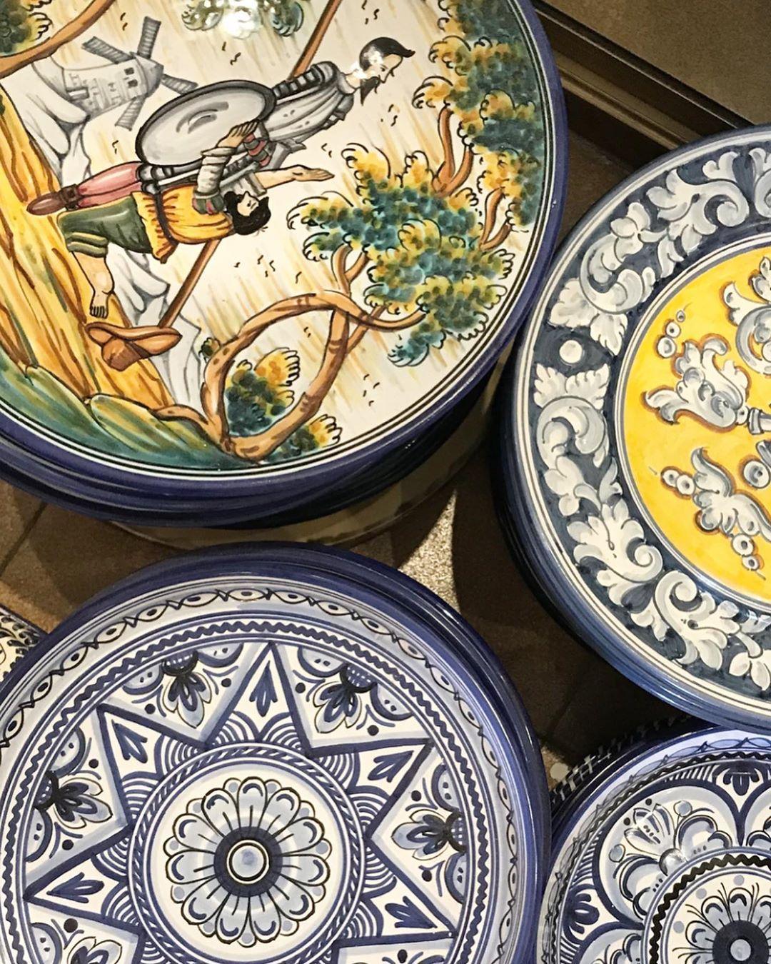 My favorite ceramics store in Mijas Artesania de Espana 1   A lot of Don Quijote motivs after Europes first novel writer Spanish Cervantes different