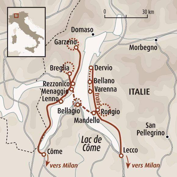 circuit carte italie sommets et randonn es panoramiques du lac de c me idee italie. Black Bedroom Furniture Sets. Home Design Ideas