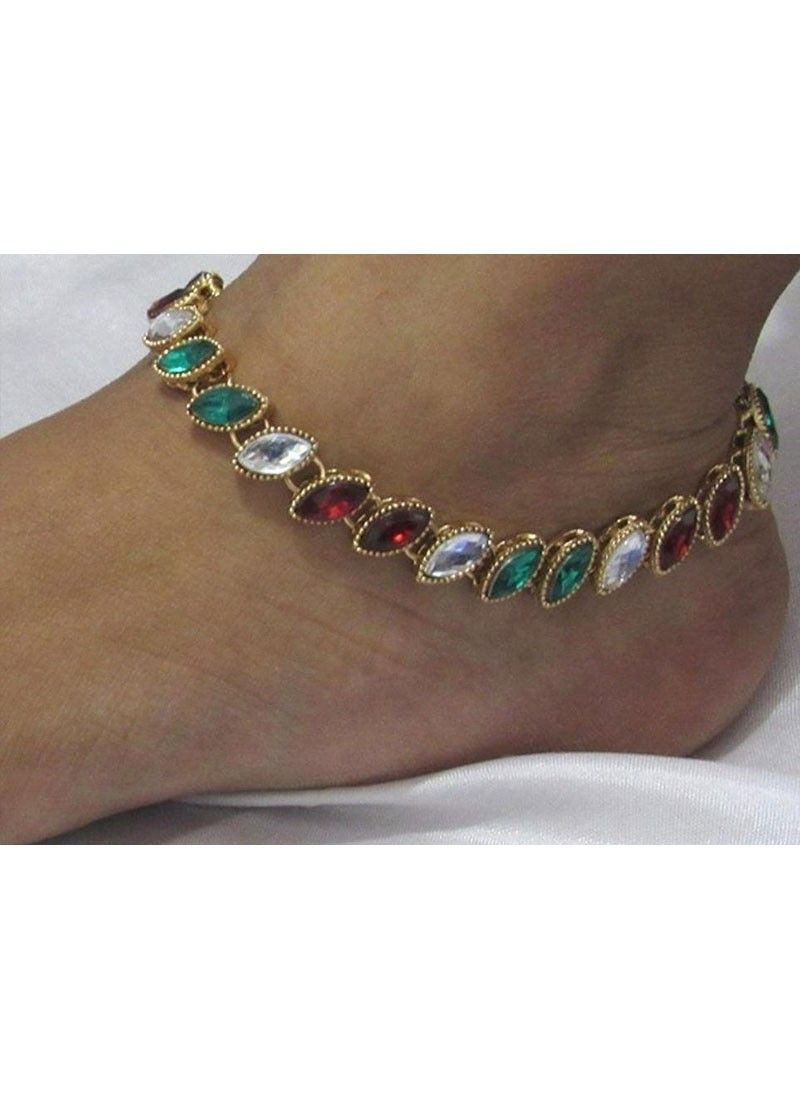 anklet girls kundan alloy multicolour product payal anklets studded online for charms