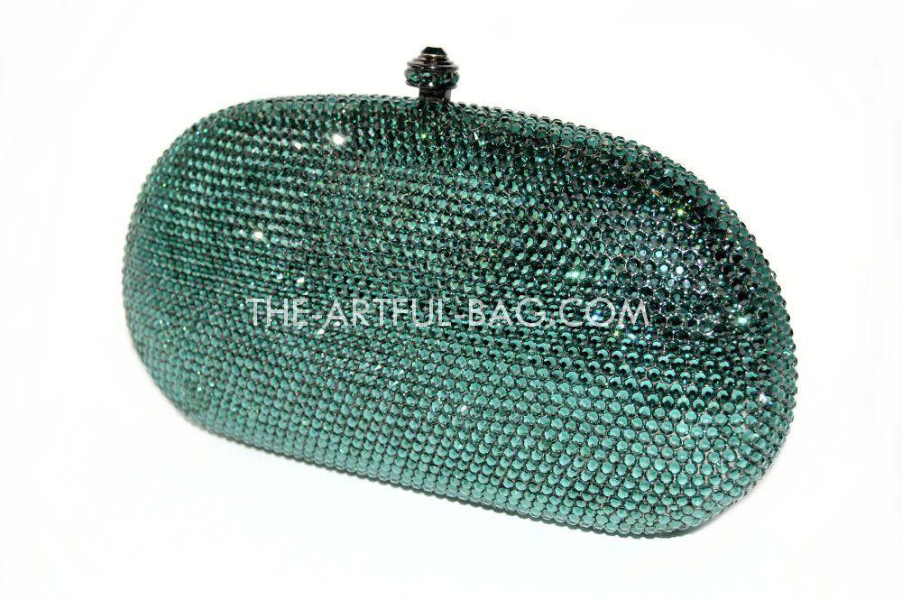 98339fb69 The-Artful-Bag.com - The Classic Emerald Green Swarovski Clutch Bag,