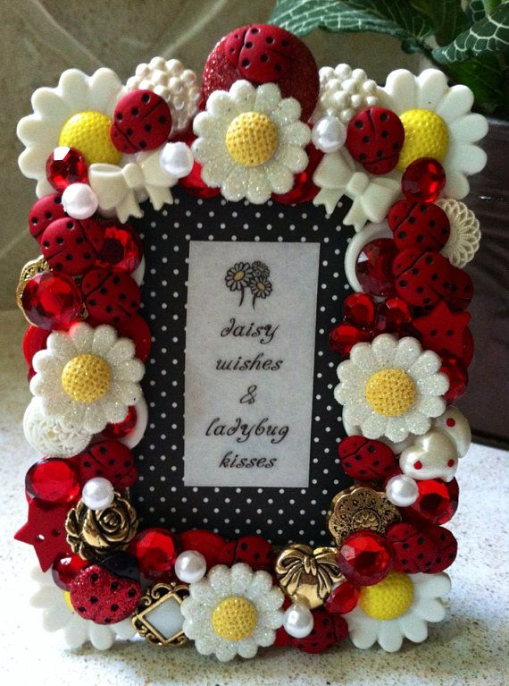Daisy Wishes Ladybug Kisses 2x3 Button Picture Frame On Etsy