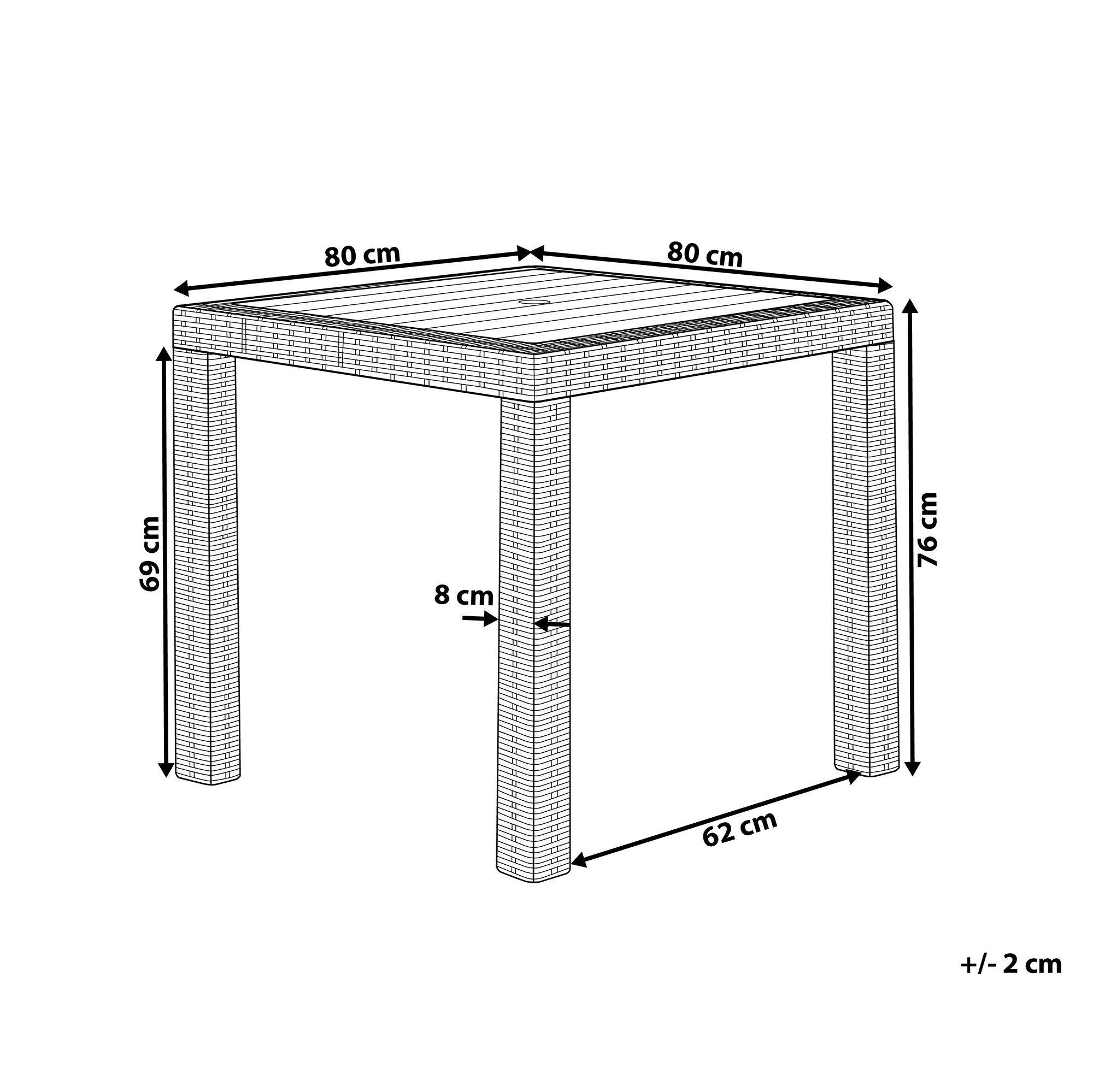 Gartentisch Rattanoptik Graphitgrau 80 X 80 Cm Fossano In 2020