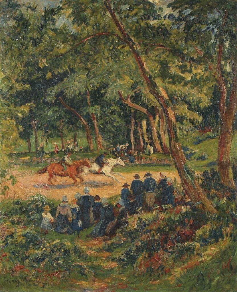 Henry Moret (1856-1917) Horse races in Bretagne 1910 (73 x 60 cm)   Живопись