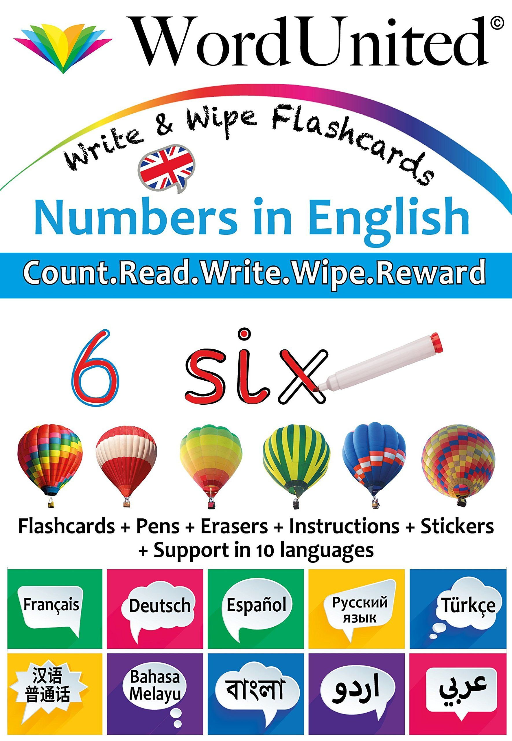 Numbers In English Write Wipe Flashcards With Multilingual