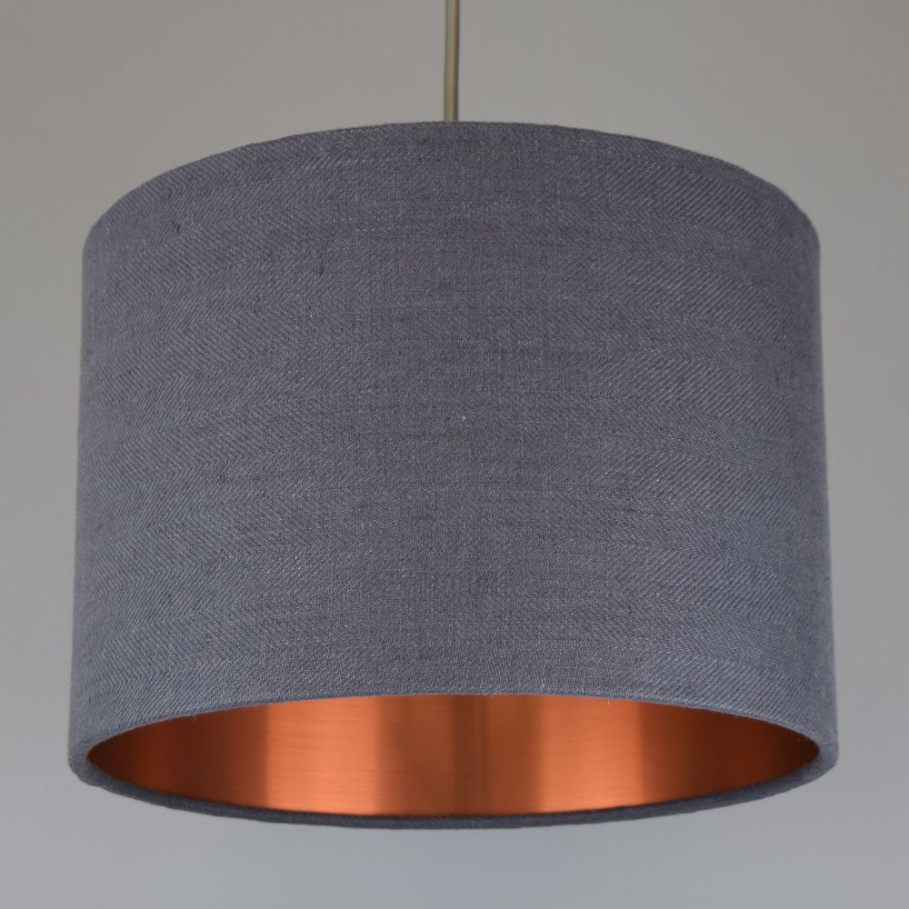 Grey washed linen drum lamp shade with choice of coloured lining grey washed linen drum lamp shade with choice of coloured lining aloadofball Image collections