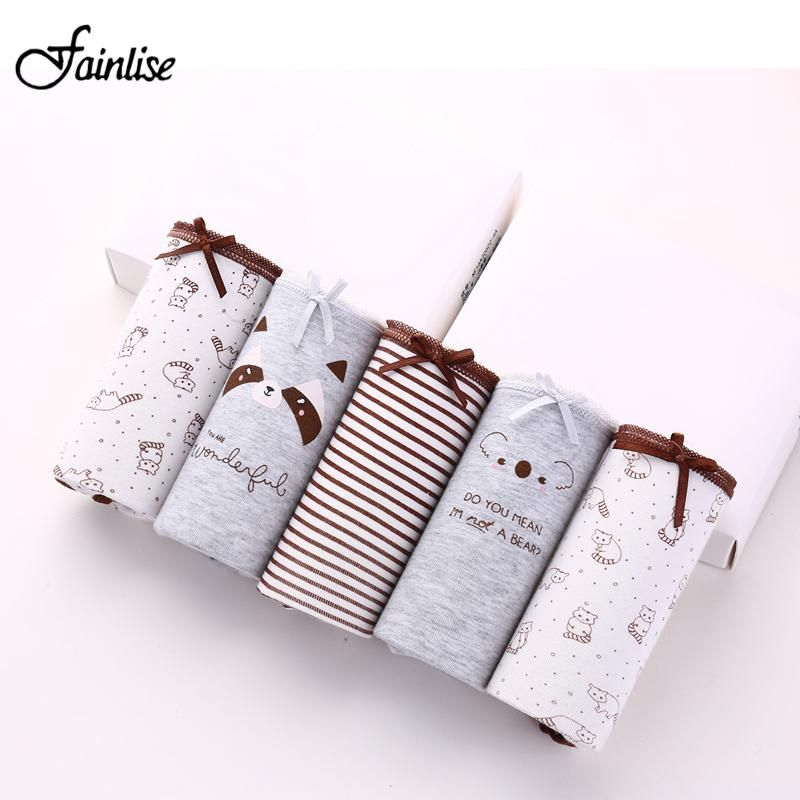 7ccb31baf5ed3 Fainlise 5Pcs lot Sexy Cotton Women s Panties Printed Briefs Lovely Girls Underwear  Wholesale Multicolor Lingerie Intimates  glam  beautiful  instastyle ...