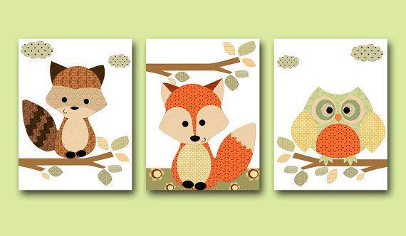 Kinderzimmer Poster Set Fuchs und Eule Orange von Fairytale Kids auf ...