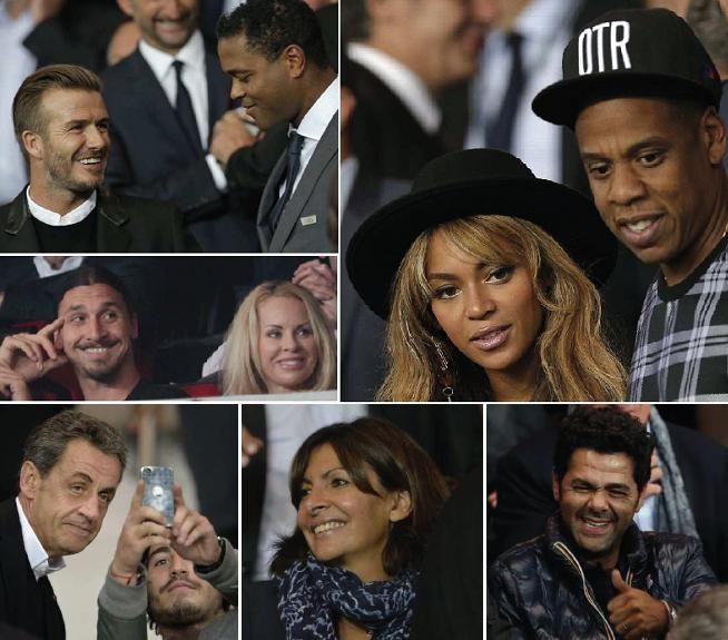 Parc des Princes (Paris), hier soir. David Beckhamen conversation avec Patrick Kluivert, Jamel Debbo... - Le Parisien