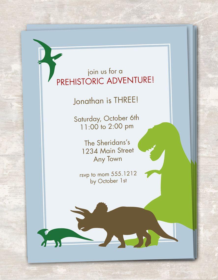 PRINT SHIP Dinosaur Dig Birthday Party Invitations set of 12