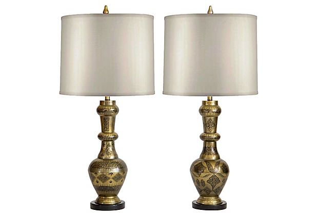 Large Etched Brass Urn Lamps Janney S Collection Lamp Etched Brass Interior Design