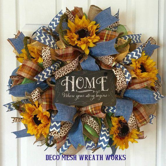 Farmhouse Wreath Sunflower Wreath Burlap By Decomeshwreathworks Denim Wreaths Deco Wreaths