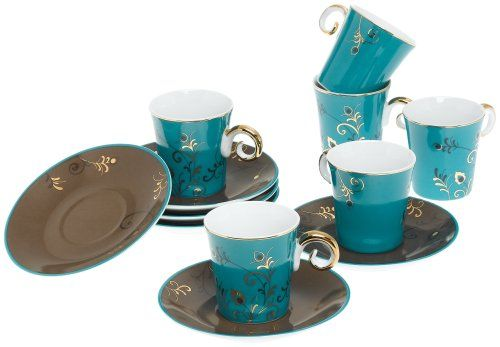 Yedi Houseware Classic Coffee and Tea Blue Saphyre Espresso Cups and ...